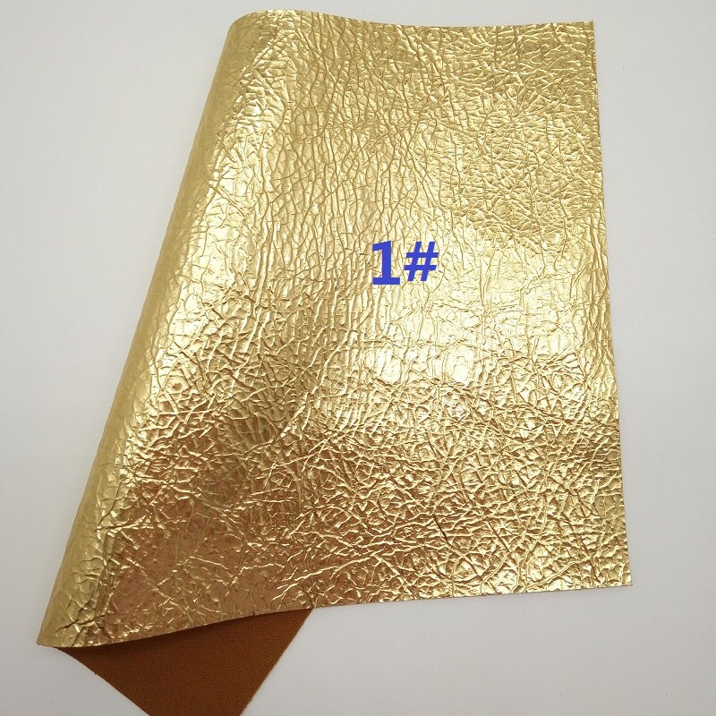 GOLD Glitter Fabric, Metallic Faux Fabric, Glitter Synthetic Leather Fabric Sheets For Bow A4 21x29CM Twinkling Ming XM808