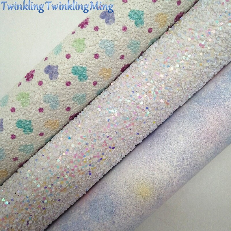 WHITE Glitter Fabric, Hearts Printed synthetic leather, Faux Fabric Sheets For Bow A4 21x29CM Twinkling Ming XM018D