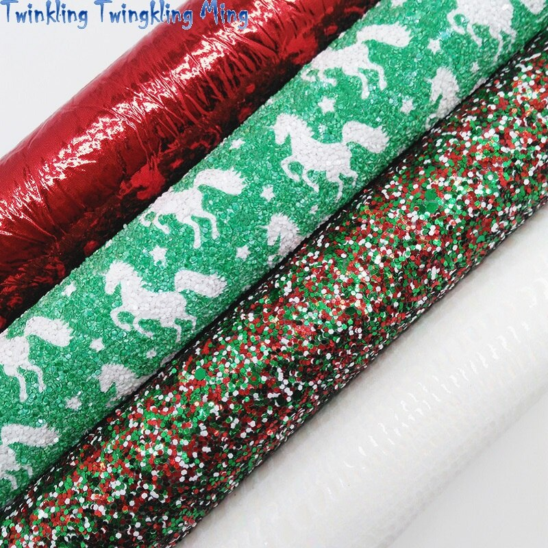 Unicorn Printed Glitter leather, Metallic Faux Leather,Christmas Synthetic Leather For Bow A4 21x29CM Twinkling Ming KM251