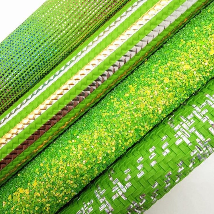GREEN Glitter Leather, Stripes Printed Synthetic Leather, Weaving Faux Fabric For Bow A4 21x29CM Twinkling Ming KM028