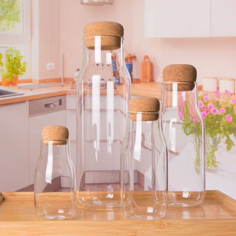 1pcs Cork Glass Bottle Heat Resistant for Coffee, Tea, Milk or Juice