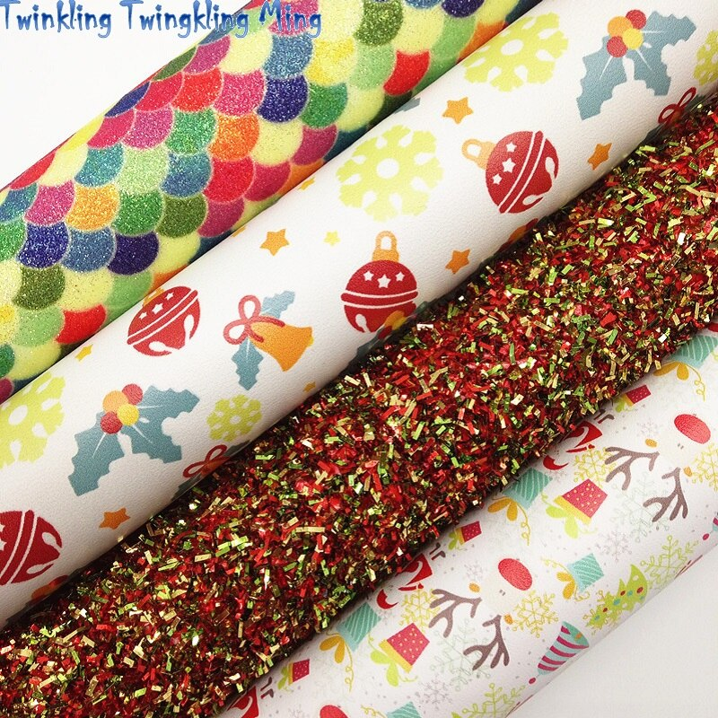 Tissel Glitter leather, Mermaid Printed Glitter Leather, Christmas Faux Fabric For Bow A4 21x29CM Twinkling Ming KM177
