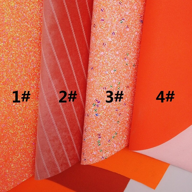 ORANGE Glitter Fabric,Velvet Stripes Faux Fabric, Synthetic Leather Fabric Sheets For Bow A4 21x29CM Twinkling Ming XM948