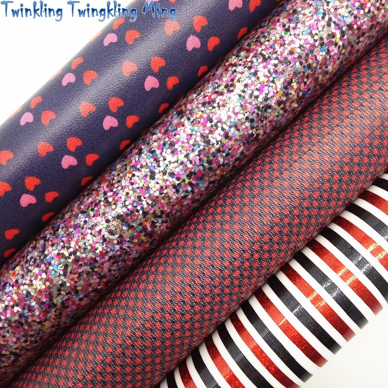 Mixed Colors Glitter Fabric, Stripes Hearts printed Synthetic Leather, Faux Fabric For Bow A4 21x29CM Twinkling Ming KM009