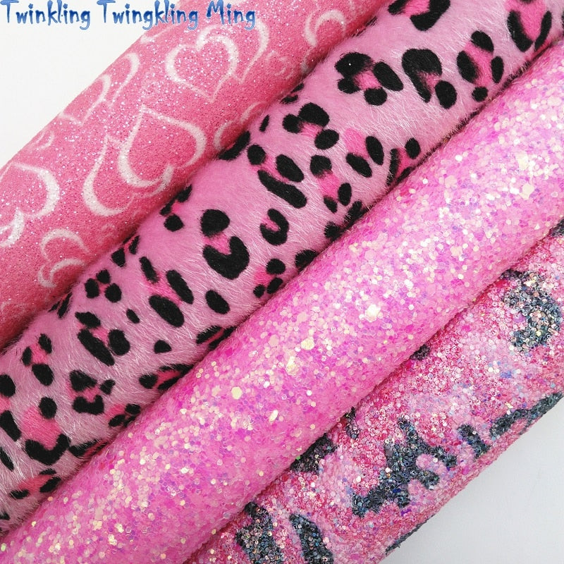 Leopard and Hearts Printed Pink Glitter leather, Immitation Leopard Fur Fabric Sheet For Bow 21x29CM Twinkling Ming KM338