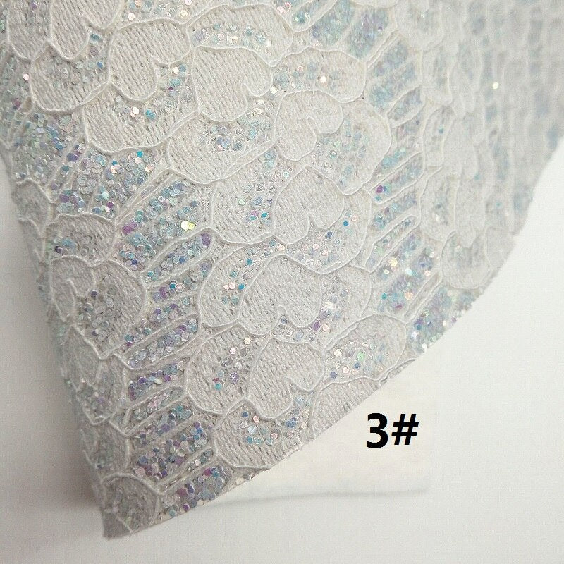 GREY Glitter Fabric, Lace Glitter Fabric, Flowers Embossed Synthetic Leather Sheets For Bow A4 21x29CM Twinkling Ming XM699