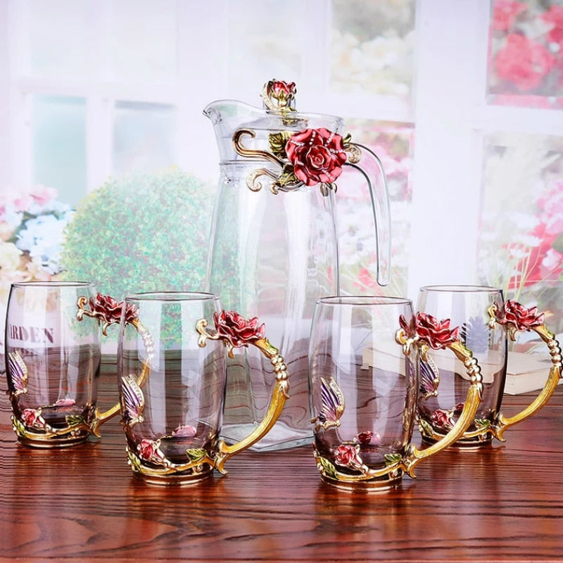 Red rose Enamel Crystal Flower Drinkware for Hot and Cold Drinks
