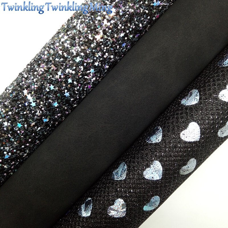 BLACK Glitter Fabric, SUEDE Synthetic Leather, Hearts Printed mesh glitter Fabric Sheet For Bow A4 21x29CM Twinkling Ming XM003C