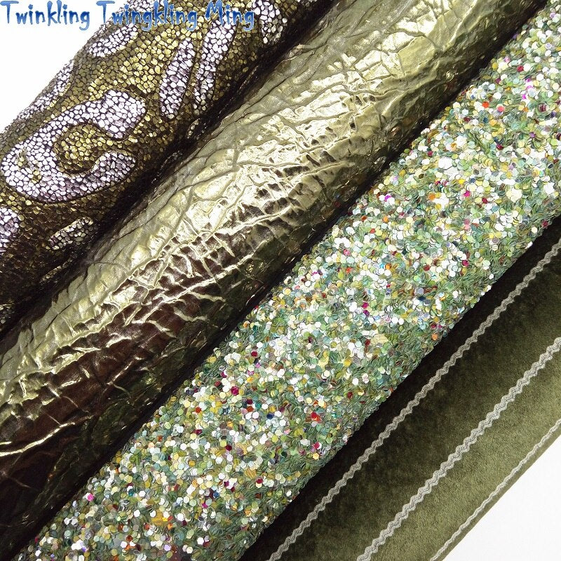 Green Chunky Glitter leather, Stripes Velvet Fabric, Leopard Embossed Faux Leather For Bow A4 21x29CM Twinkling Ming XM026J