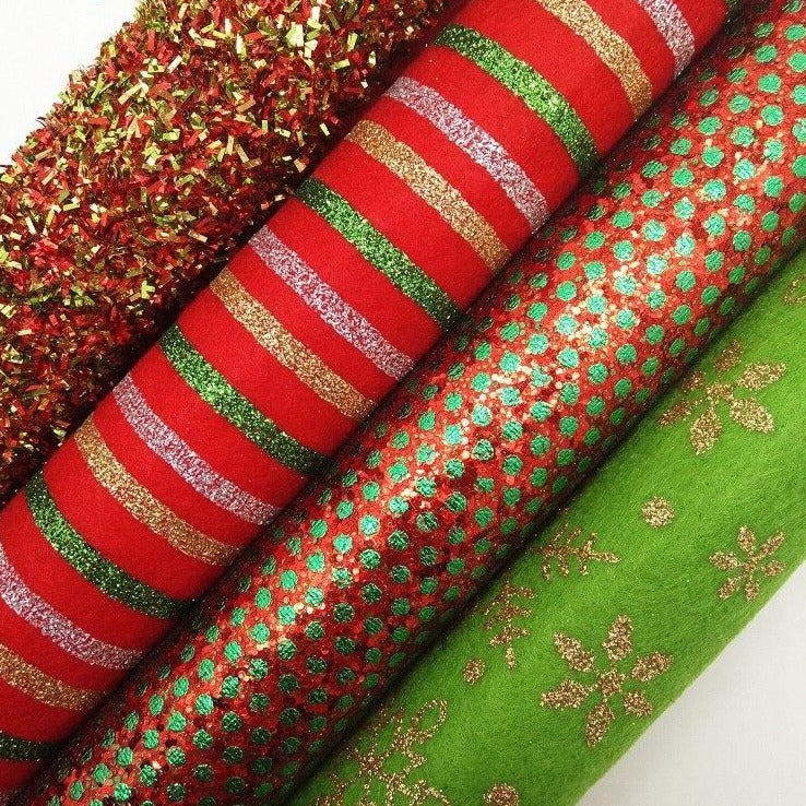Mixed Colors Glitter Fabric, Dots Printed Faux Fabric, Felt Fabric Sheets For Christmas Bow A4 21x29CM Twinkling Ming XM781