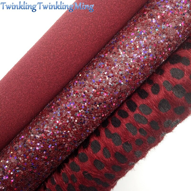 Glitter Fabric, Suede Synthetic Leather, Faux Fur Fabric Sheets For Bow A4 21x29CM Twinkling Ming XM007E