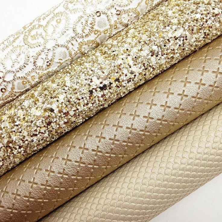 GOLD Glitter Fabric, Metallic Faux Fabric, Mermaid Synthetic Leather Fabric Sheets For Bow A4 21x29CM Twinkling Ming XM860