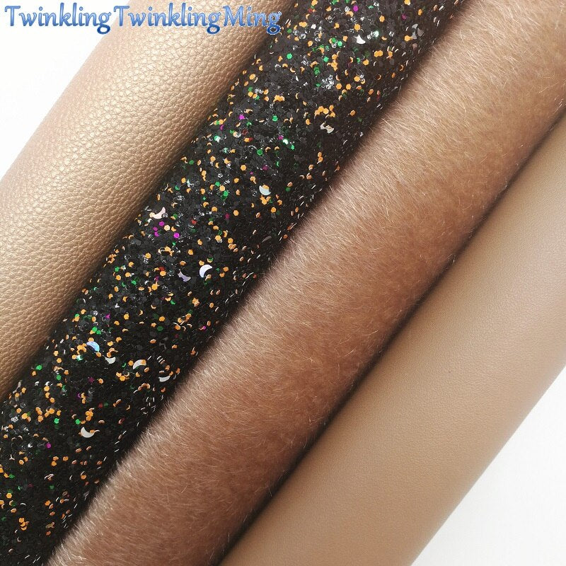 Mixed Colors Glitter Fabric, Litchi Synthetic Leather Fabric Sheets, Fur Fabric For Bow A4 21x29CM Twinkling Ming XM679