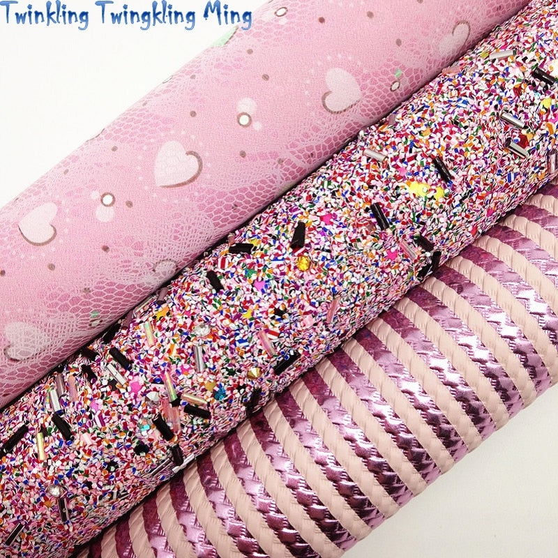 PINK Glitter Fabric, Stripes Faux Fabric, Hearts Synthetic Leather Fabric Sheets For Bow A4 21x29CM Twinkling Ming XM835