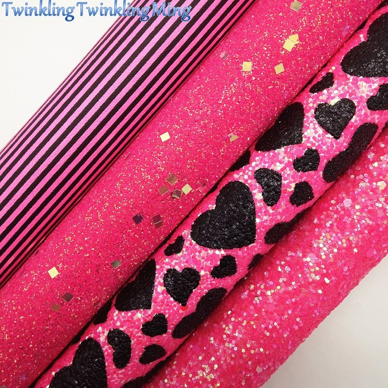 Hearts Printed Glitter Fabric, Stripes Printed Faux Fabric Sheets For Bow A4 21x29CM Twinkling Ming XM004D