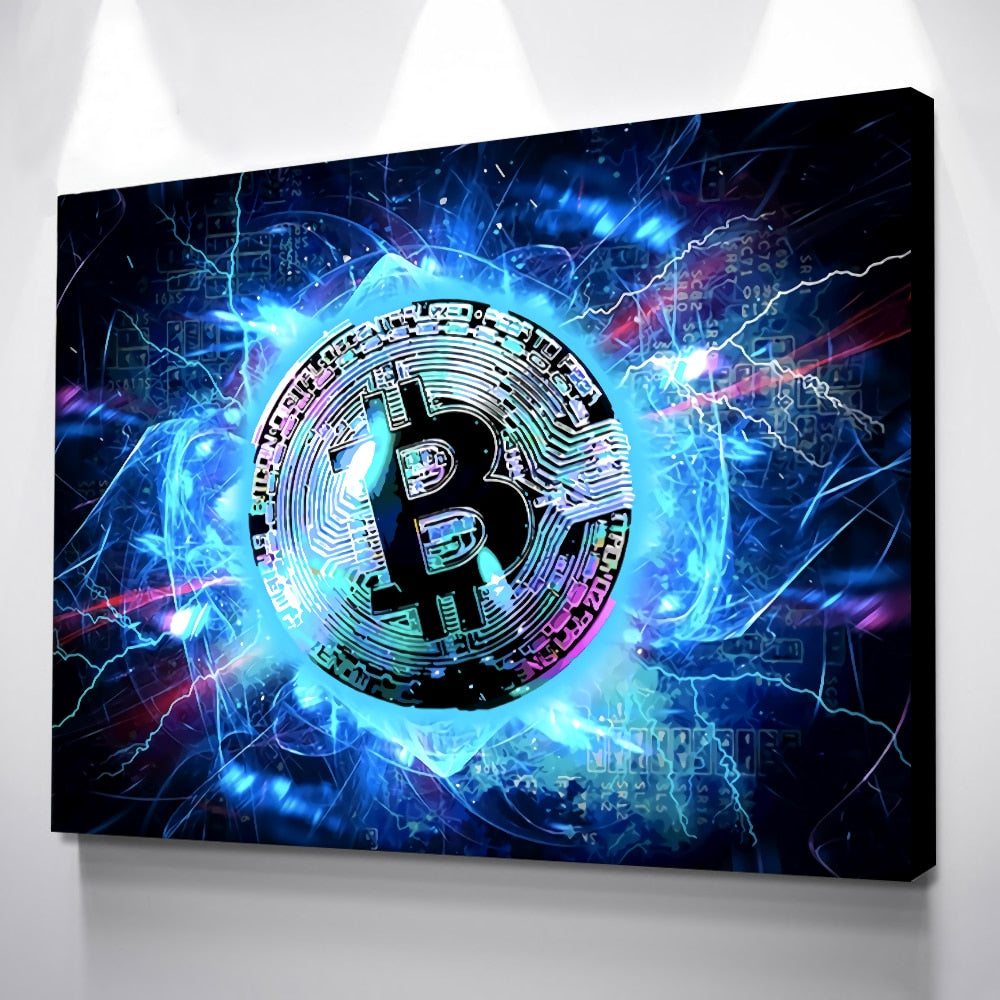CryptoStop Bitcoin Prints Painting Neon Glow Pictures Canvas Poster