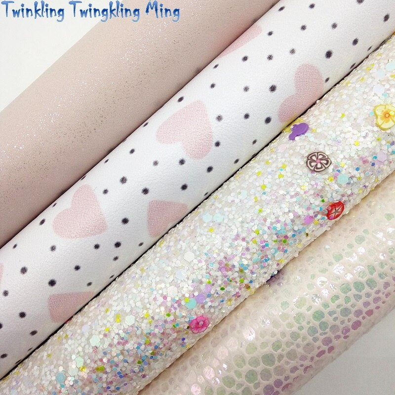 Glitter Fabric with Flowers, Hearts Printed Synthetic Leather, Unicorn Fabric Sheets For Bow A4 21x29CM Twinkling Ming XM025C
