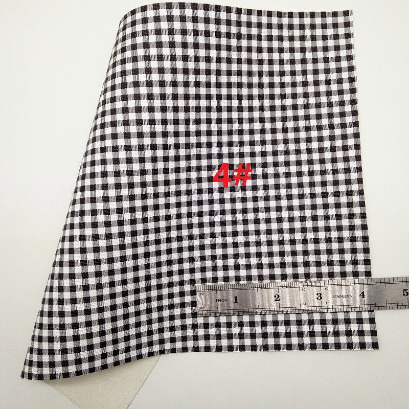 BLACK AND WHITE Glitter Fabric, DOTS Synthetic Leather, PLAIDS Faux Fabric Sheets For Bow A4 21x29CM Twinkling Ming XM006C