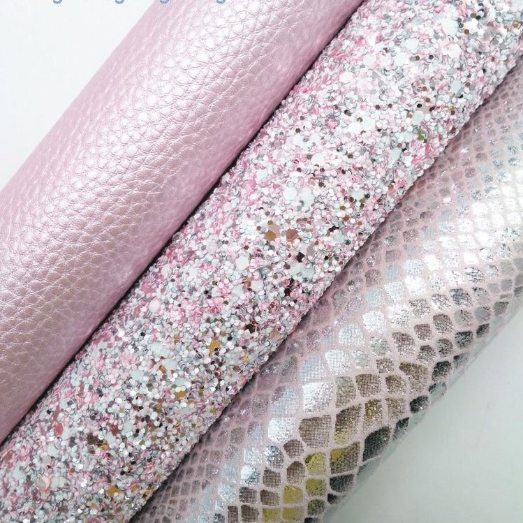 Pink Glitter leather, Metallic Snake, Litchi Synthetic Leather Faux Fabric Sheet For Bow 21x29CM Twinkling Ming KM332