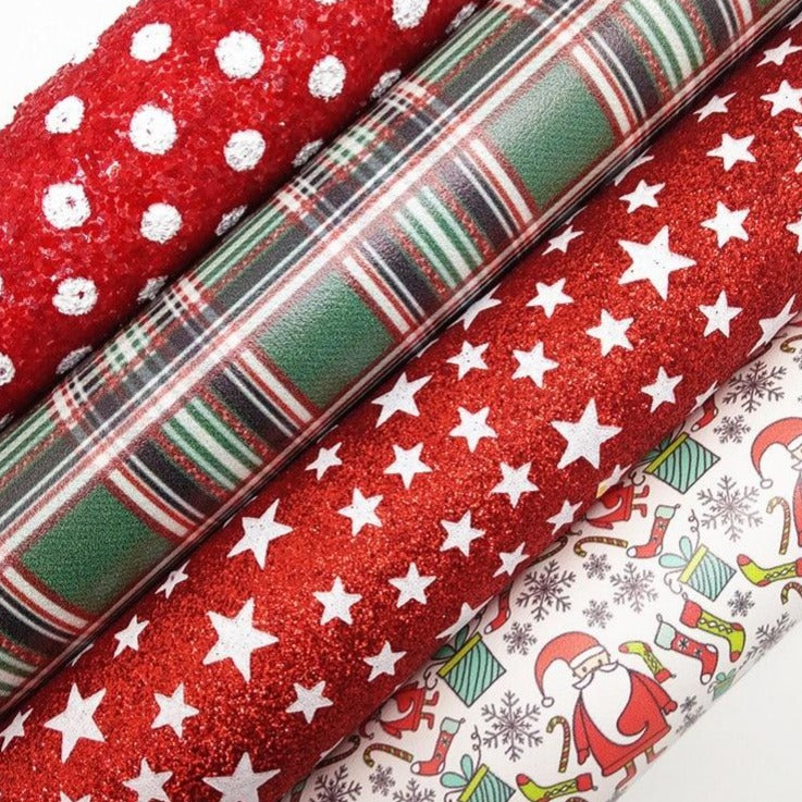 Stars Dots Printed Glitter leather, Snowman Tartan Printed Christmas Faux Fabric For Bow A4 21x29CM Twinkling Ming KM183