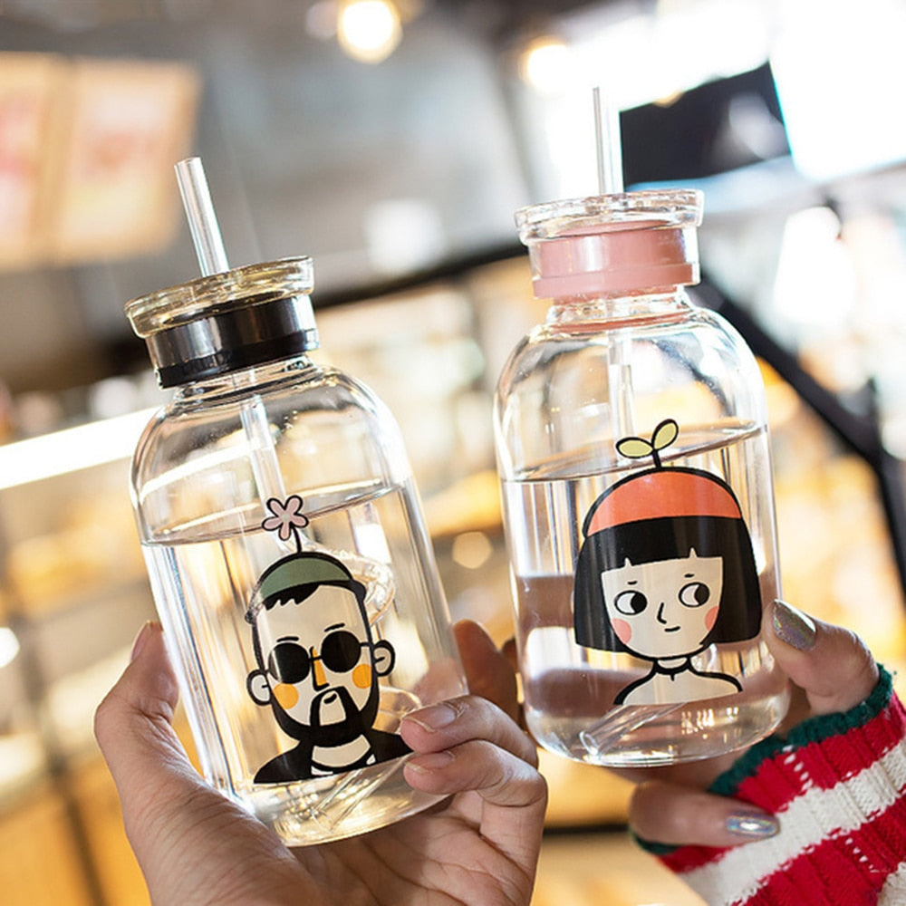 Cute Cartoon Transparent Water Bottle With Straw