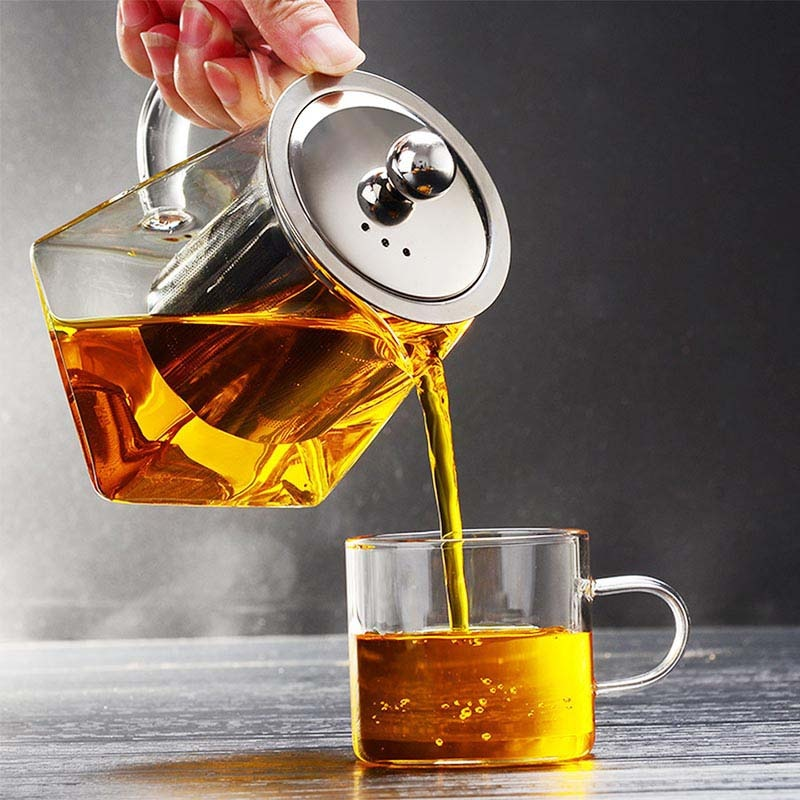 500ML Borosilicate Glass Teapot Heat Resistant Square Glass Teapot With Tea Infuser