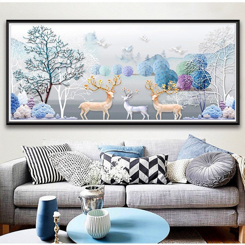 Unframed 5D Deer Forest Landscape Decorative Acrylic Painting
