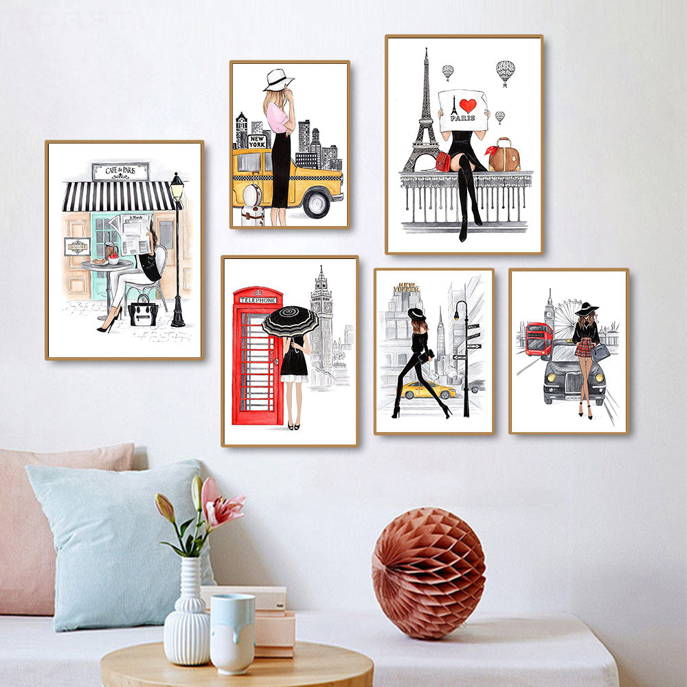 Paris City Wall Art Canvas Posters Fashion Girl Print Cartoon Simple Style Painting Nordic Home Decor Metal Organic Glass Framed