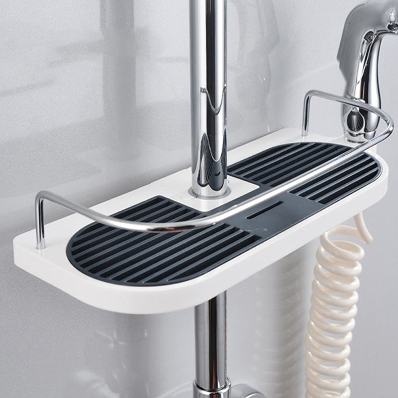 Bathroom Pole Shower Rod Storage Rack Holder Organizer