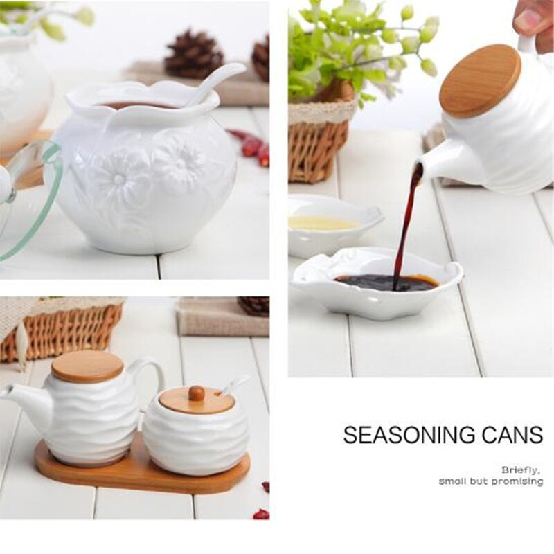 Seasoning Box Ceramic Wood Cover Kitchen Accessories