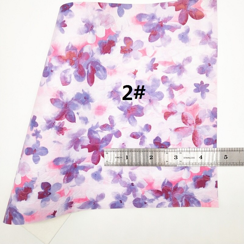 Purple Glitter Fabric, Flowers Printed Faux Fabric, Synthetic Leather Fabric Sheets For Bow A4 21x29CM Twinkling Ming XM706