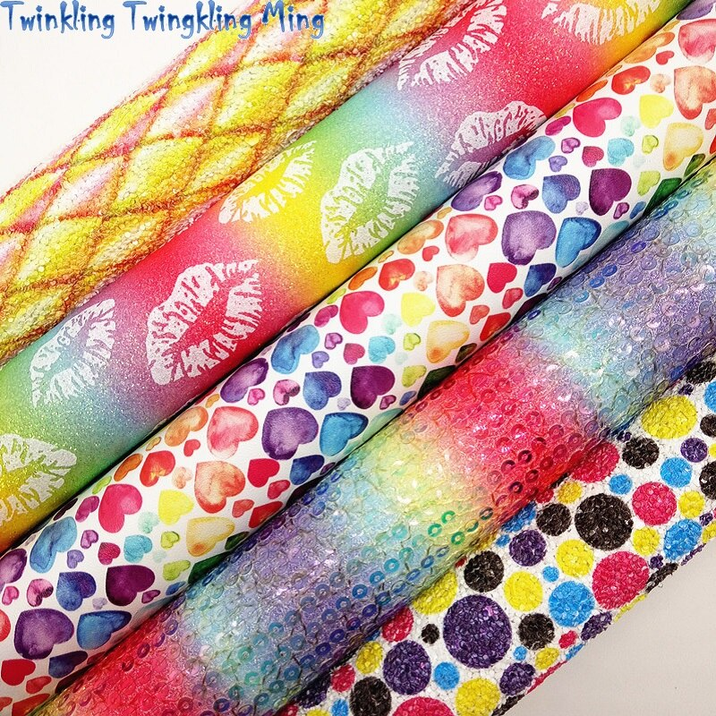 Mixed Colors Glitter leather, Rainbow Sequins Fabric, Hearts Dots Printed Faux leather For Bow A4 21x29CM Twinkling Ming KM207
