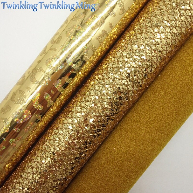 GOLD Glitter Fabric, Leopard Faux Fabric, Suede Synthetic Leather Fabric Sheets For Bow A4 21x29CM Twinkling Ming XM900