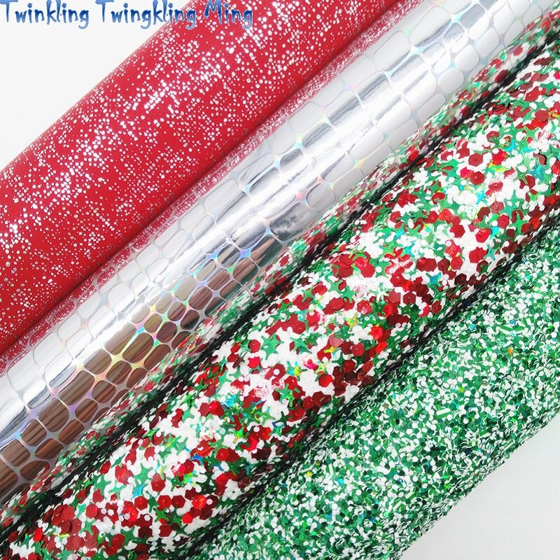 Christmas Red and Green Glitter leather, Iridescent Crocodile Grain Synthetic Leather For Bow A4 21x29CM Twinkling Ming KM284