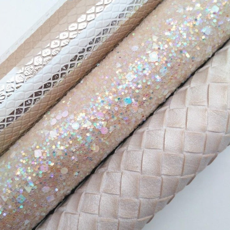 BEIGE Glitter Fabric, Snake Synthetic Leather, Weaving Faux Fabric Sheets For Bow A4 21x29CM Twinkling Ming XM005D