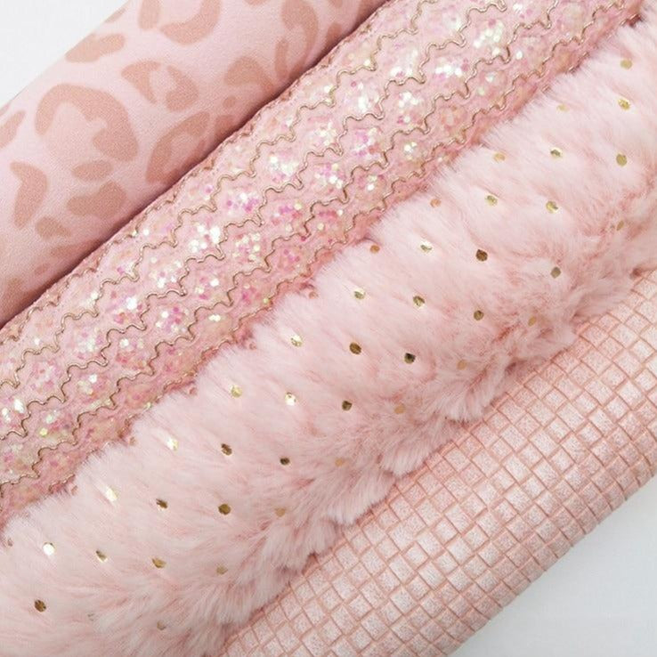 Pink Mesh Glitter leather, Weaving Leather, Leopard Printed Faux Leather, Fur Fabric Sheets A4 21x29CM Twinkling Ming KM296