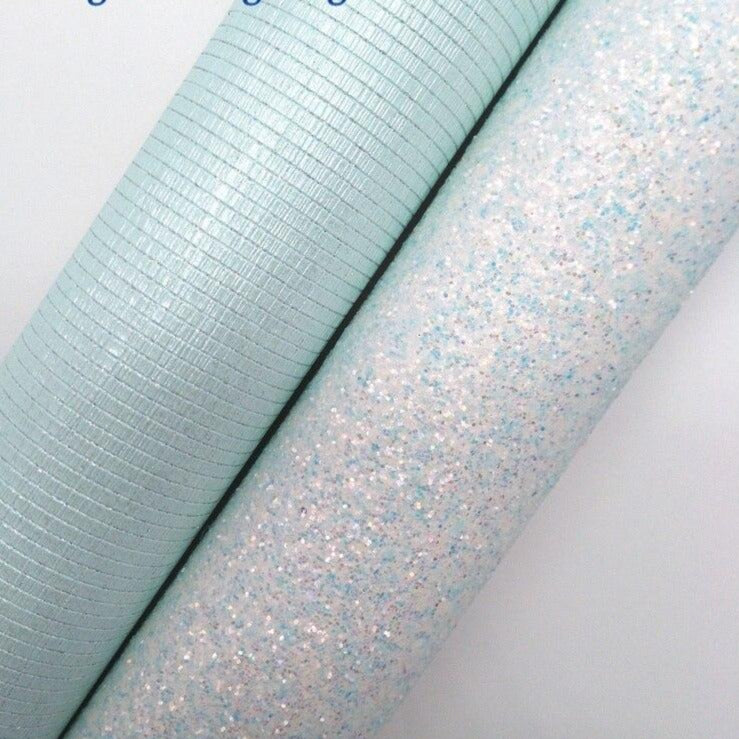 "BLUE Glitter Fabirc, Faux Leather Fabric, Synthetic Leather Fabric Sheets For Bow A4 8""x11""Twinkling Ming XM502"