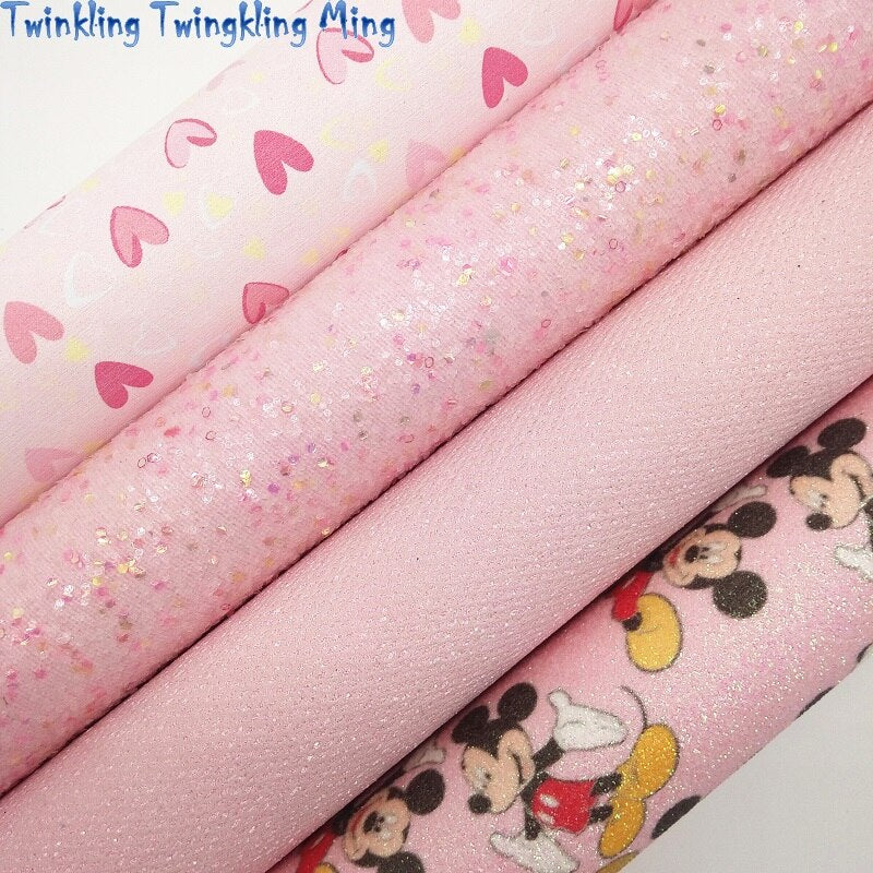 Pink Chunky Glitter leather, Hearts Printed Faux Leather, Glitter Faux Leather For Bow A4 21x29CM Twinkling Ming KM114