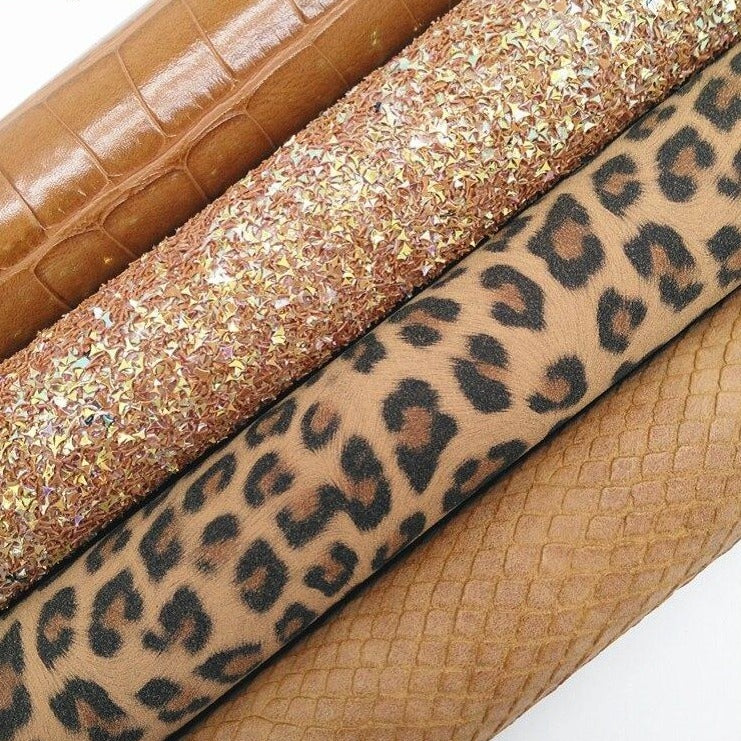 Tan Glitter leather, Leopard Suede, Crocodile Embossed Synthetic Leather For Bow A4 21x29CM Twinkling Ming KM275
