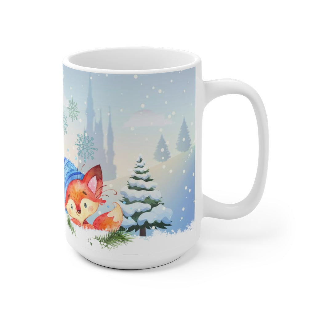 Cute fox Christmas Holidays winter ceramic mug