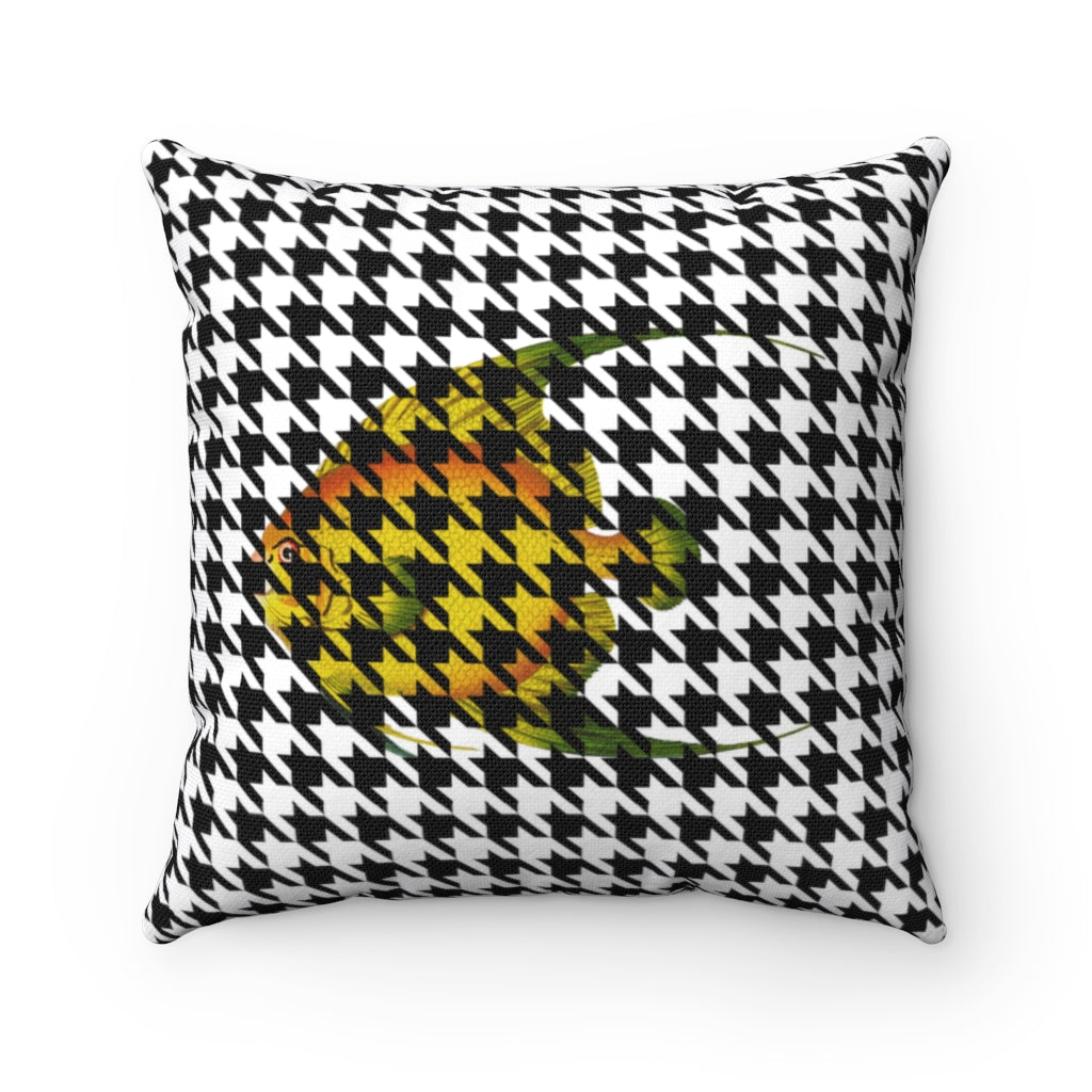 Fish and Houndstooth Decorative Cushion Cover