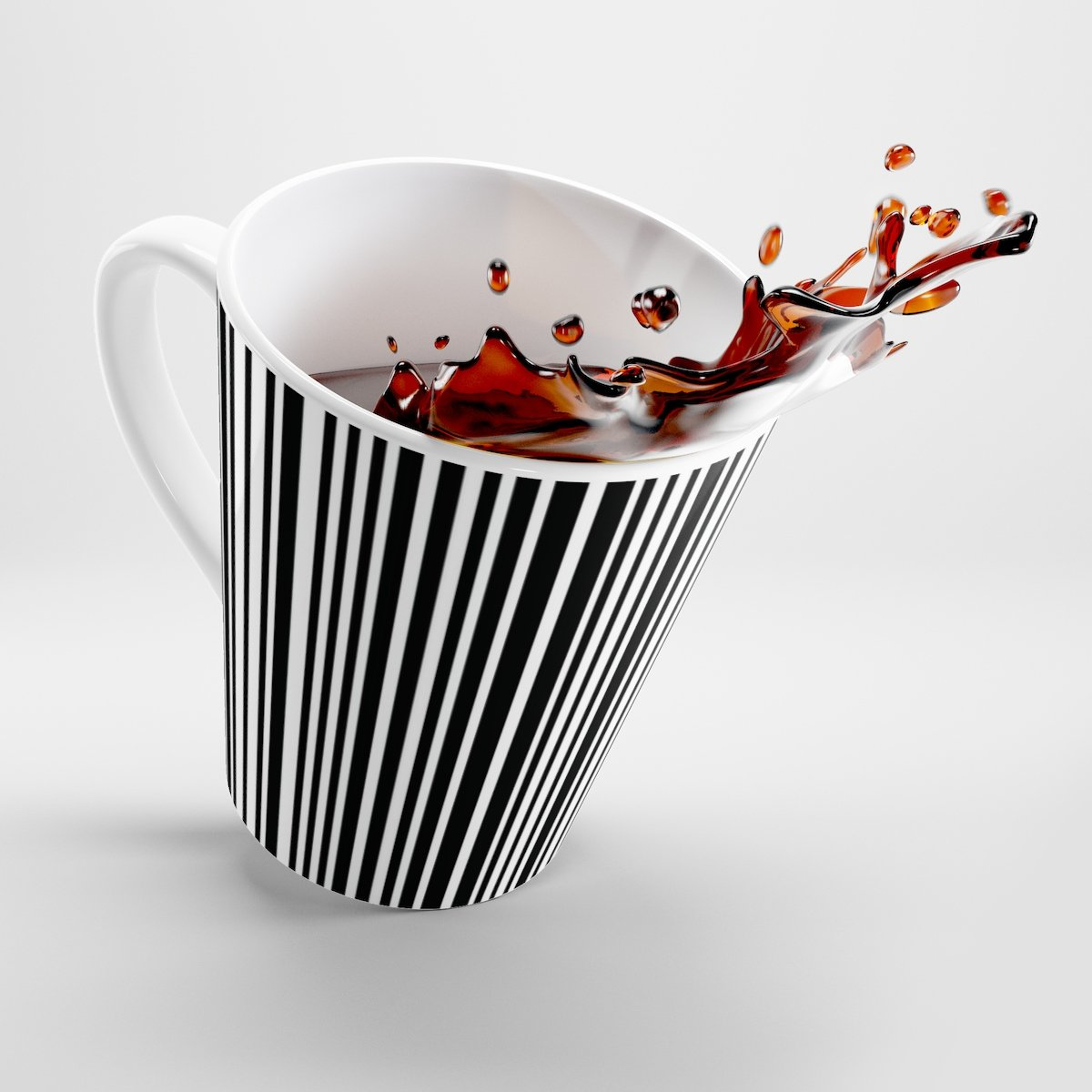 Black and white contemporary striped Latte mug-Mug-Printify-12oz-Très Elite