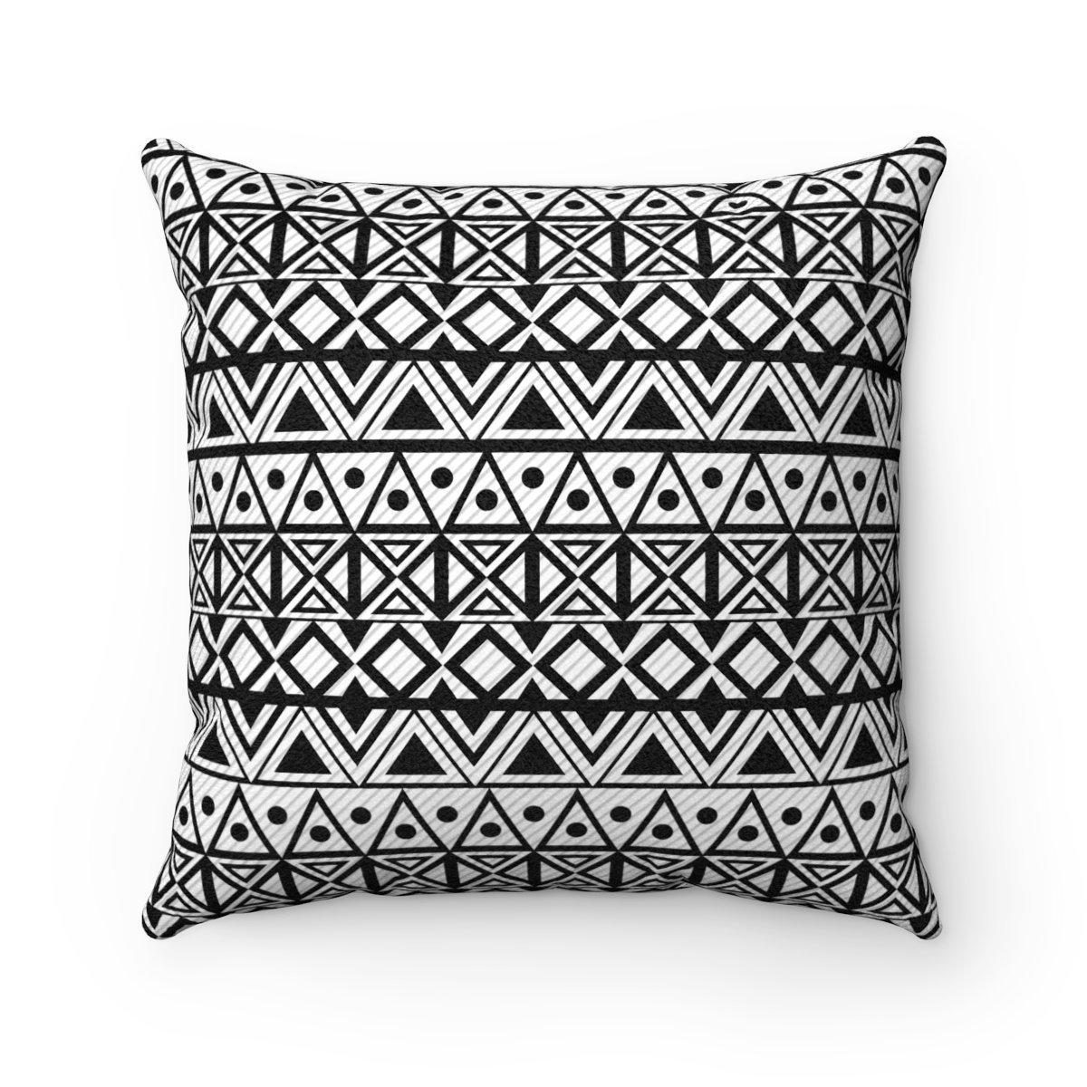 Black and white ethnic animal-friendly microfiber decorative pillow w/insert-Home Decor - Decorative Accents - Pillows & Throws - Decorative Pillows-Maison d'Elite-Très Elite