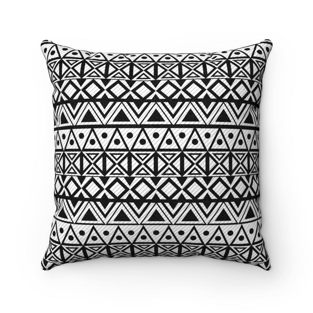 Black and white ethnic animal-friendly microfiber decorative pillow w/insert-Home Decor - Decorative Accents - Pillows & Throws - Decorative Pillows-Maison d'Elite-14x14-Très Elite