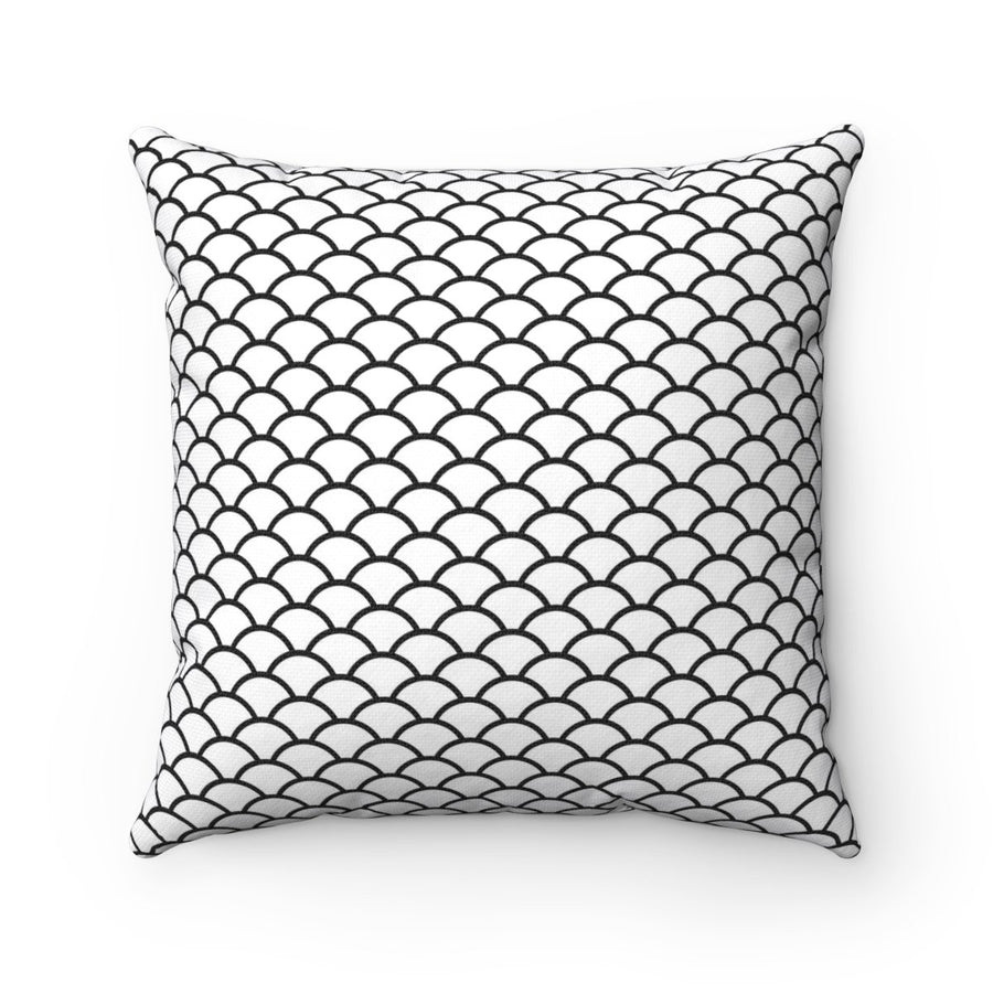 Black and white mermaid scales modern contemporary decorative cushion cover