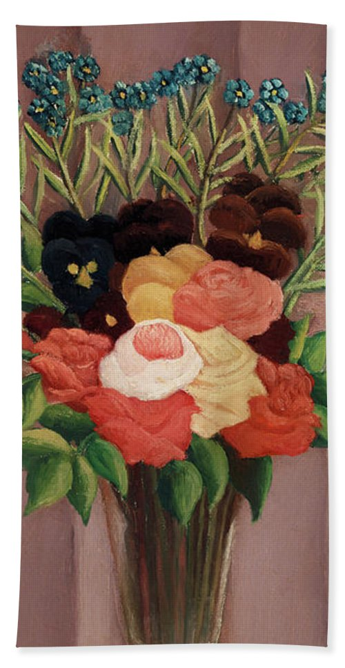Bouquet de fleurs by Henri Rousseau - Beach Towel