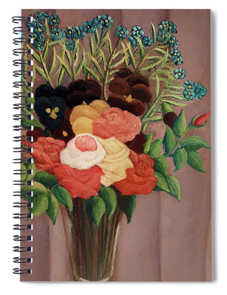 Bouquet de fleurs by Henri Rousseau - Spiral Notebook