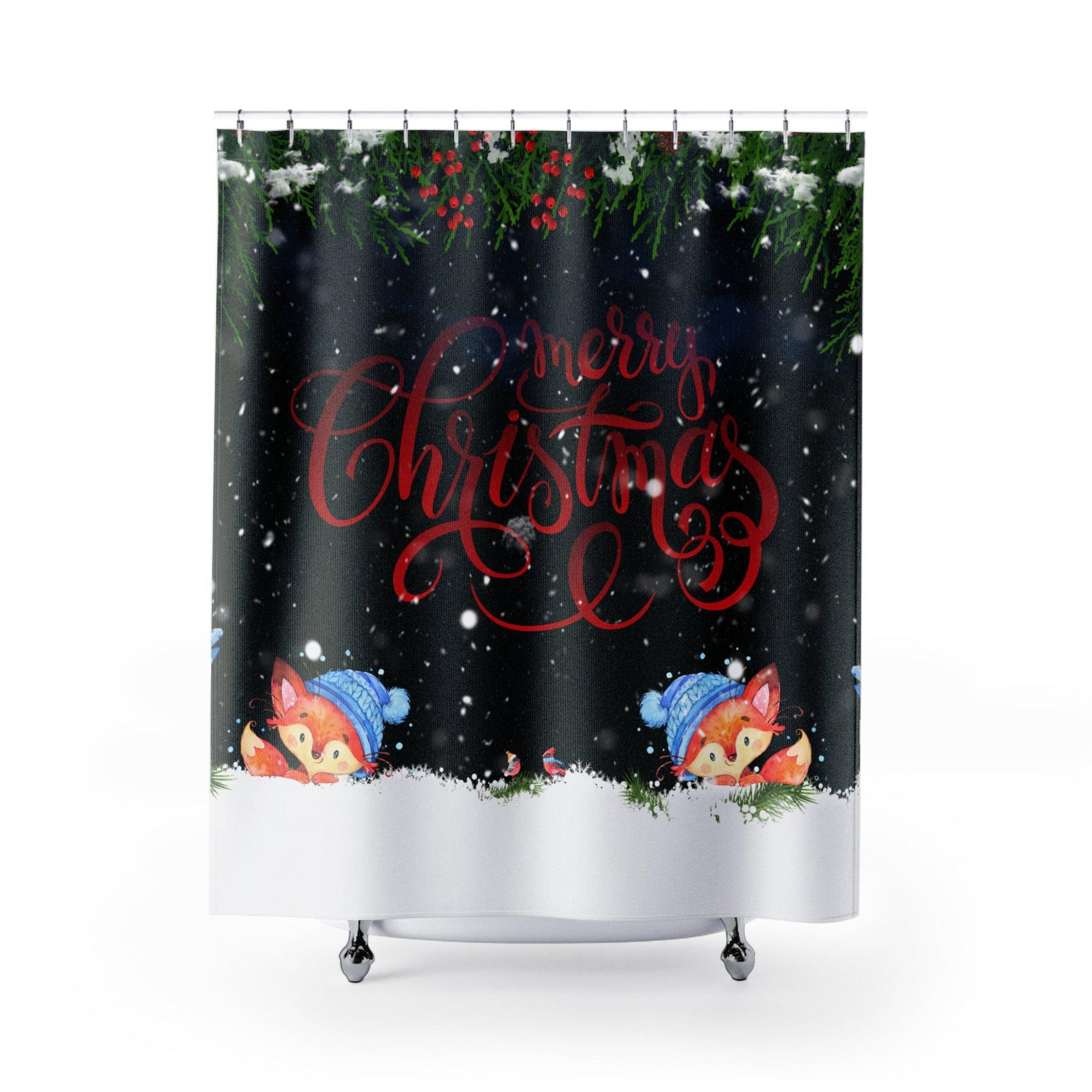 Christmas shower Curtains-Bath - Bathroom Accessories - Shower Accessories - Shower Curtains-Maison d'Elite-71x74-Multi-Poly-Très Elite