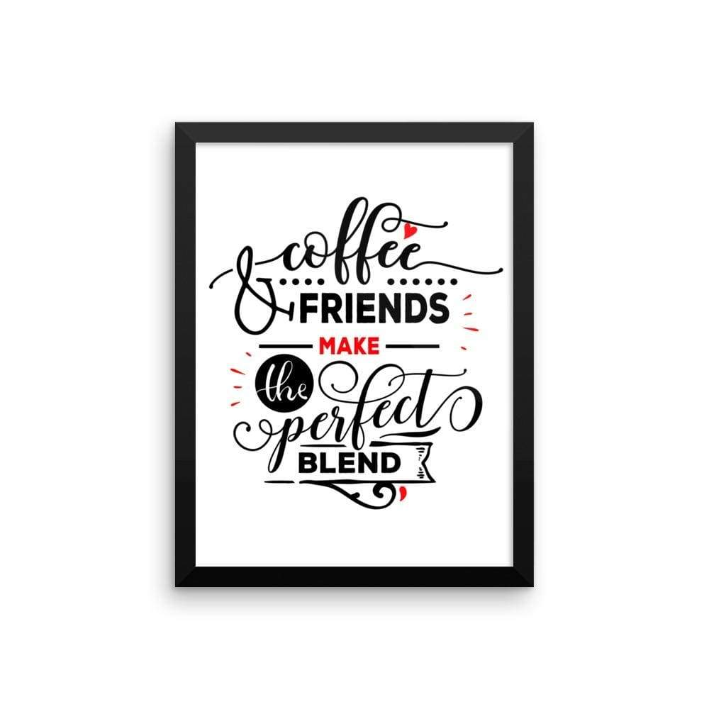 """ Coffee and Friends"" Black Framed Premium Luster Print Posters-Home - Wall Arts & Decors - Prints & Posters-Maison d'Elite-12×16-Black frame-wooden-Très Elite"