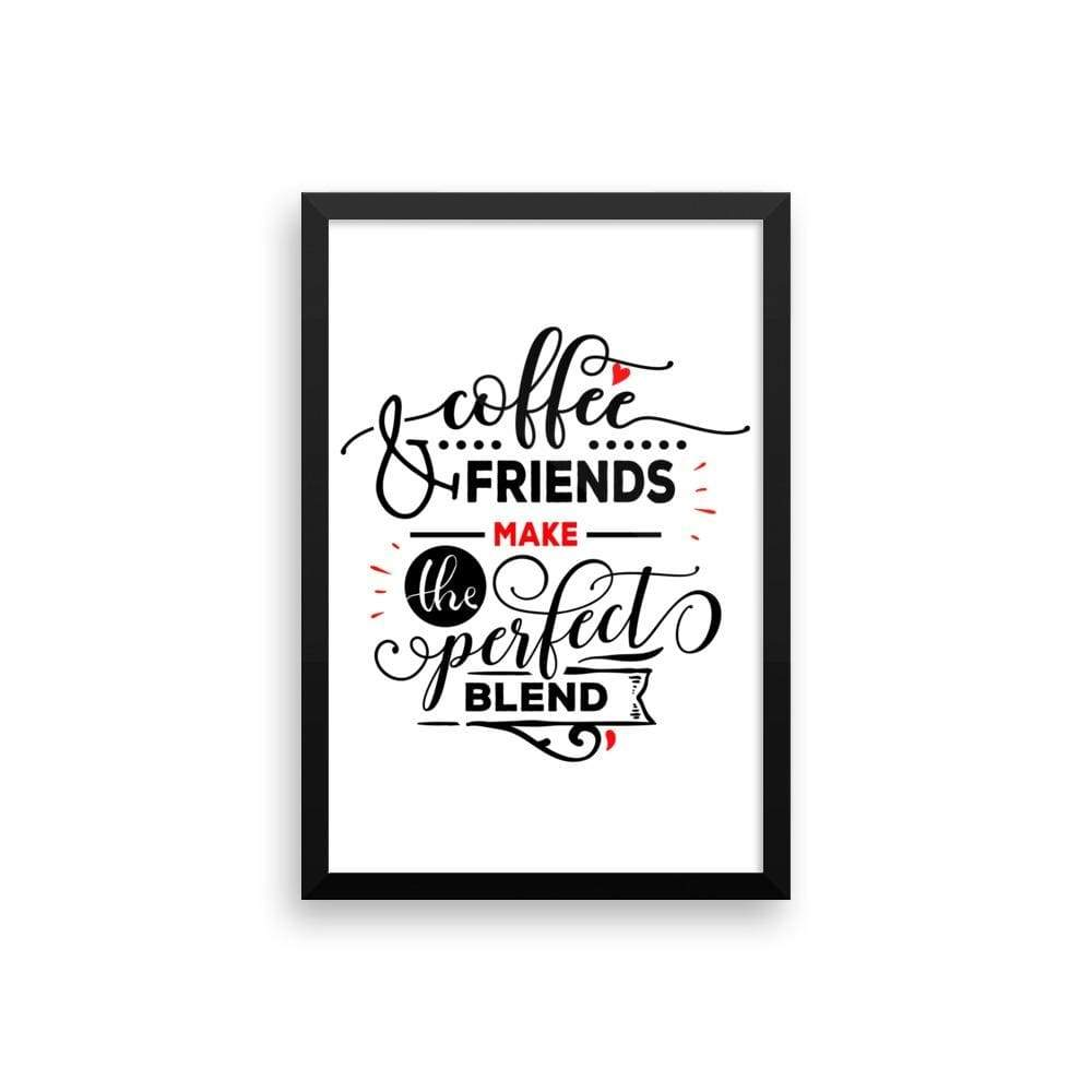 """ Coffee and Friends"" Black Framed Premium Luster Print Posters-Home - Wall Arts & Decors - Prints & Posters-Maison d'Elite-12×18-Black frame-wooden-Très Elite"